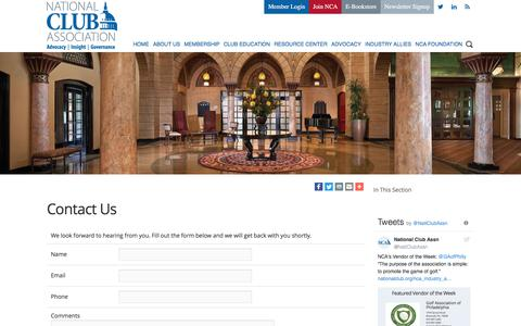 Screenshot of Contact Page nationalclub.org - National Club Association - Contact Us - captured Oct. 19, 2017