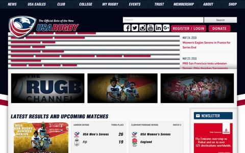 Screenshot of Home Page usarugby.org - USA Rugby   The Official Website - captured May 25, 2016