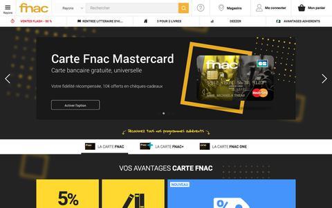 Screenshot of fnac.com - Carte adhérents Fnac, nos cartes et avantages club Fnac.com - captured Jan. 8, 2018