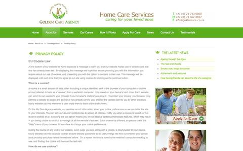 Screenshot of Privacy Page goldencare.co.za - Privacy Policy - Golden Care Agency - captured Oct. 3, 2014