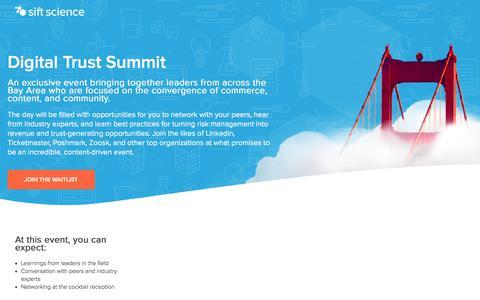 Screenshot of Landing Page siftscience.com - Digital Trust Summit - captured Sept. 19, 2018
