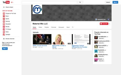 Screenshot of YouTube Page youtube.com - Material Mix LLC  - YouTube - captured Oct. 27, 2014