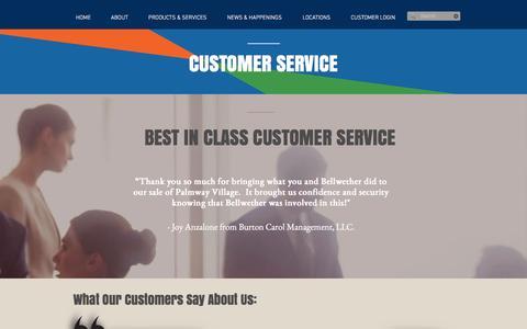 Screenshot of Support Page bellwetherenterprise.com - Bellwether Enterprise A Commercial & Mortgage Banking Company | CUSTOMER SERVICE - captured Nov. 22, 2016