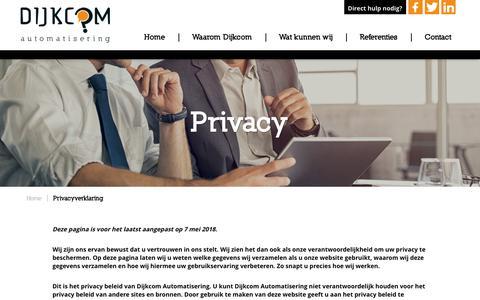 Screenshot of Privacy Page dijkcom.nl - Privacyverklaring - captured Oct. 9, 2018