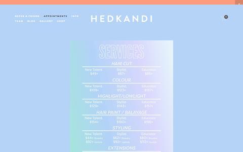 Screenshot of Services Page hedkandisalon.com - Services + Amenities — Hedkandi Salon - captured Sept. 28, 2018