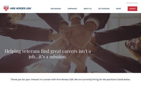 Screenshot of Jobs Page hireheroesusa.org - Careers - Hire Heroes USA - captured Feb. 9, 2020