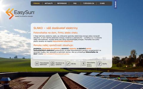 Screenshot of Home Page easysun.sk - Fotovoltaika na dom - naša ponuka - EasySun - captured Oct. 1, 2014