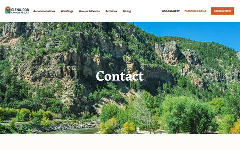 Screenshot of Contact Page glenwoodcanyonresort.com - Contact - Glenwood Canyon Resort - captured July 19, 2018