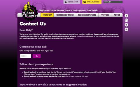 Screenshot of Contact Page planetfitness.com - Contact Us | Planet Fitness - captured Nov. 18, 2015