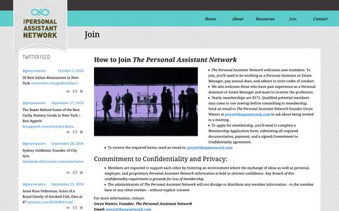 Screenshot of Signup Page thepanetwork.com - Join –The Personal Assistant Network - captured Oct. 23, 2018