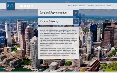 Screenshot of Home Page brownwagner.com - Brown & Wagner | Boston Commercial Real Estate Agent - captured Feb. 8, 2016