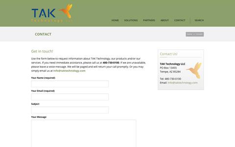 Screenshot of Contact Page taktechnology.com - TAK Technology   – Contact - captured Nov. 3, 2017