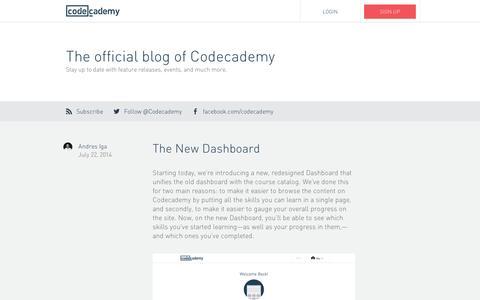 Screenshot of Blog codecademy.com - Blog | Codecademy - captured Sept. 10, 2014