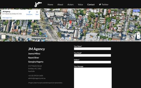 Screenshot of Contact Page jmagency.net.au - Contact - JM Agency - captured Nov. 18, 2016