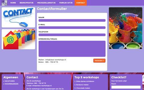 Screenshot of Contact Page ziezo-workshops.nl - De leukste workshops voor teambuilding en teamuitjes, in-company. - captured Oct. 18, 2018