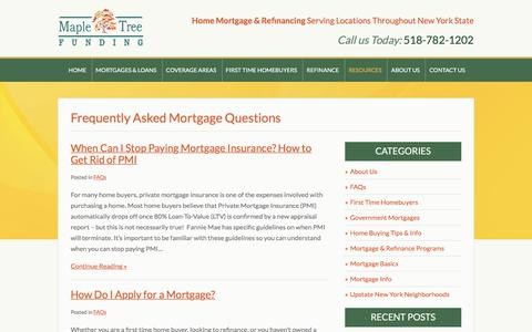 Screenshot of FAQ Page mapletreefunding.com - Mortgage FAQs From Maple Tree: Home Loans in Albany, Glens Falls & NYS - captured Sept. 20, 2018