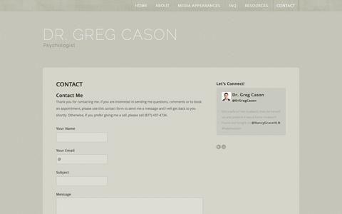 Screenshot of Contact Page drgregcason.com - Dr. Greg Cason-CBT Psychologist - CONTACT - captured Oct. 3, 2014