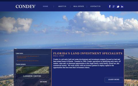 Screenshot of Home Page condevhomes.com - Florida Land Development | Real Estate Developer Central Florida | Land Brokerage | Construction - captured Jan. 29, 2016
