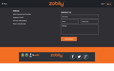 Screenshot of Contact Page zobily.com - Contact Us  - Zobily | Shop Save Share Earn - captured Feb. 21, 2016