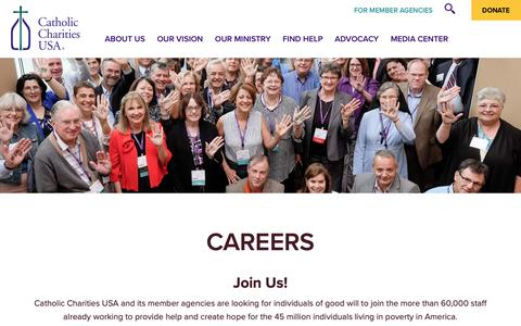 Screenshot of Jobs Page catholiccharitiesusa.org - Careers - Catholic Charities USA - captured Dec. 7, 2018