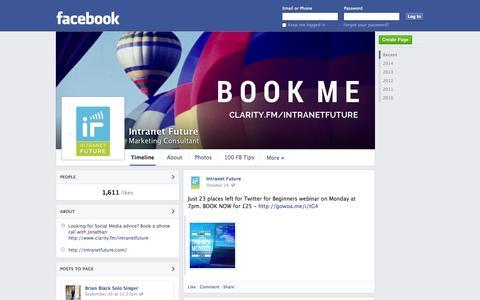 Screenshot of Facebook Page facebook.com - Intranet Future - Cheltenham, United Kingdom - Marketing Consultant | Facebook - captured Oct. 27, 2014