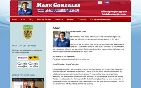 Screenshot of About Page capefearplumber.com - Wilmington NC Plumber Mark Gonzales   Trusted Local Plumbers in Oak Island & Wilmington NC - captured Oct. 26, 2014