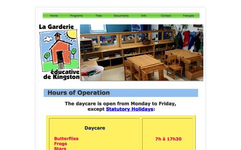 Screenshot of Hours Page lagarderie.ca - Hours: Garderie Éducative de Kingston - captured March 20, 2017