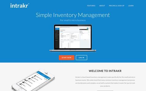 Screenshot of Home Page intrakr.com - Intrakr | Simple Inventory Management - captured Sept. 23, 2014