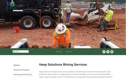 Screenshot of Services Page heapsolutions.com - Geophysical services for the mining industry | Heap Solutions - captured Oct. 24, 2018