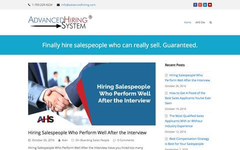 Screenshot of Blog advancedhiring.com - Sales Hiring System for Sales Managers - captured Nov. 20, 2016