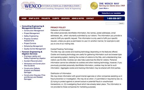 Screenshot of Privacy Page wexco.net - Privacy Policy | WEXCO - captured Oct. 26, 2014