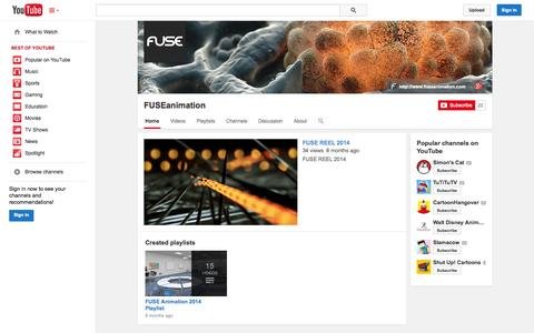Screenshot of YouTube Page youtube.com - FUSEanimation  - YouTube - captured Oct. 23, 2014