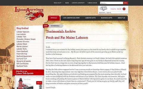 Screenshot of Testimonials Page lobsteranywhere.com - Testimonials Archive - Lobster Anywhere - captured Nov. 2, 2014