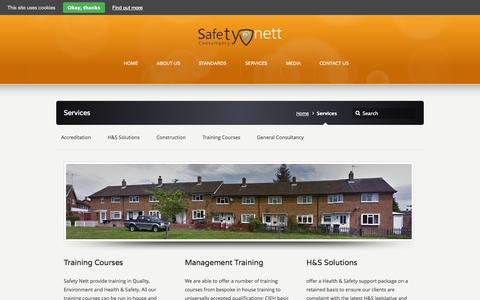 Screenshot of Services Page safetynett.co - Services –  Safety Nett - captured Sept. 30, 2014