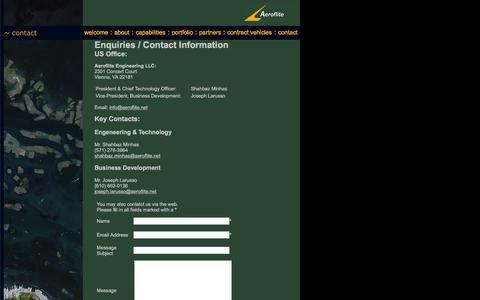 Screenshot of Contact Page aeroflite.net - Aeroflite Engineering LLC : Contact - captured Feb. 5, 2016