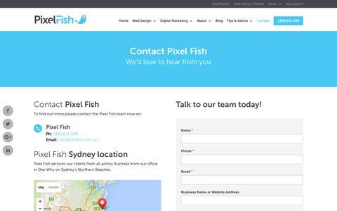 Screenshot of Contact Page pixelfish.com.au - Pixel Fish - Contact - captured July 14, 2016