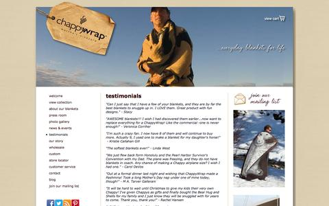 Screenshot of Testimonials Page chappywrap.com - Favorite Blanket Reviews and Testimonials|ChappyWrap - captured Sept. 29, 2014
