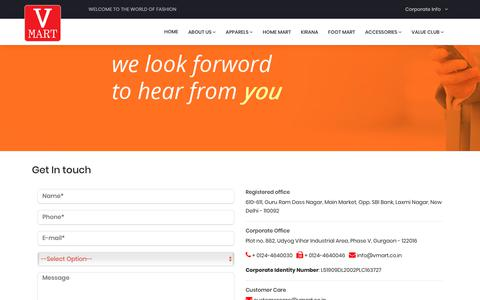 Screenshot of Contact Page vmart.co.in - V-Mart - captured Oct. 18, 2018