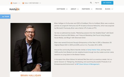 Screenshot of Team Page hubspot.com - Brian Halligan, HubSpot CEO and Founder - captured June 2, 2017