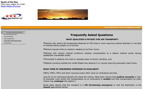 Screenshot of FAQ Page desertsunaviation.net - Frequently Asked Questions - Desert Sun Aviation LLC - captured Oct. 5, 2014