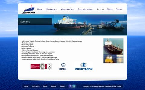 Screenshot of Services Page seaportagencies.com - Services | Seaport Agencies - captured Oct. 3, 2014