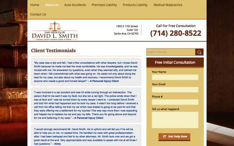 Screenshot of Testimonials Page dlslaw.com - Client Testimonials for Law Offices of David L. Smith - captured Oct. 1, 2014