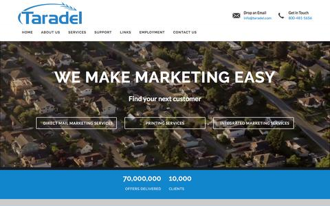 Screenshot of Home Page taradel.com - Taradel, LLC - Print and Deliver. 800.481.1656 - captured Feb. 18, 2016