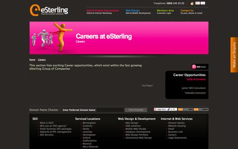 Screenshot of Jobs Page esterling.co.uk - Career Opportunities > Careers at eSterling > Careers - captured Oct. 3, 2014