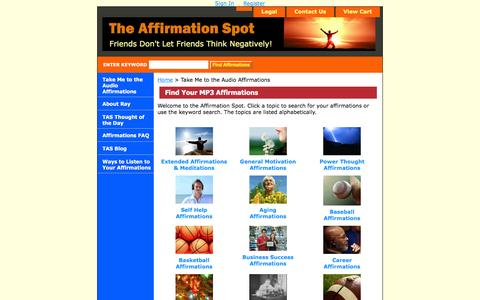 Screenshot of Products Page theaffirmationspot.com - The Affirmation Spot - Products - captured June 16, 2016
