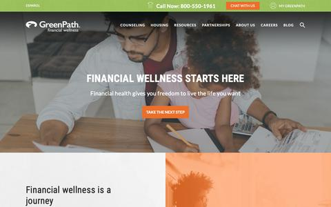 Screenshot of Home Page greenpath.com - GreenPath Financial Wellness Website Home Page - captured Sept. 30, 2018