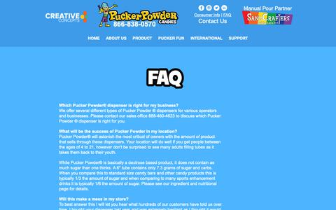 Screenshot of FAQ Page puckerpowder.com - Pucker Powder | FAQ - captured Nov. 5, 2018