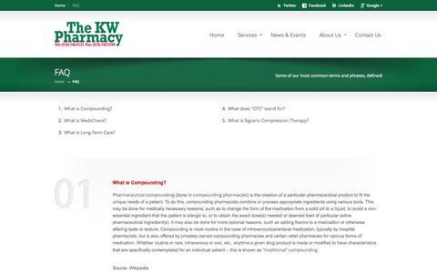 Screenshot of FAQ Page kwpharmacy.ca - FAQ «  KW Guardian Pharmacy - captured Sept. 30, 2014