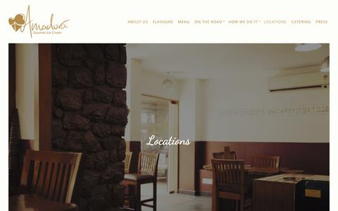Screenshot of Locations Page amadora.in - Locations | Amadora Gourmet Ice Cream - captured Oct. 3, 2018