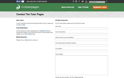 Screenshot of Contact Page thetutorpages.com - The Tutor Pages - Contact The Tutor Pages - captured Sept. 19, 2014